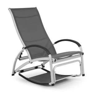 Beverlywood Sonnenliege Schaukelstuhl | Gestell aus Aluminium | 4-fach verstellbare Rückenlehne | DualComfort | Material: 70% PVC und 30% Polyester Comfort Mesh | Edelstahlschrauben | grau