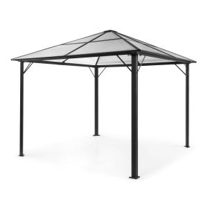 Pantheon Solid Sky Pavillon Gazebo Pergola | Aluminiumkantrohr |  überdachte Fläche: 3x3 m | 7,6x7,6 cm Eckpfosten mit 1,2 mm Materialdicke |  solides Dach aus 6mm Polycarbonat-Doppelstegplatten | rostfrei | ohne  Seitenwände | schwarz