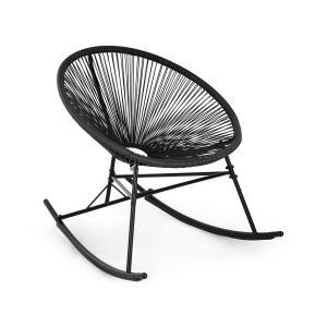 Blumfeldt Roqueta sedia a dondolo design retrò con paglia da 4mm nero