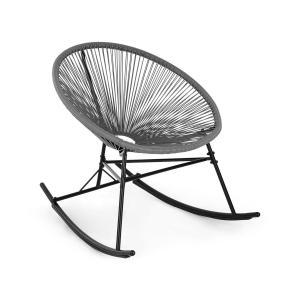 Blumfeldt Roqueta sedia a dondolo design retrò con paglia da 4mm grigio