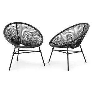Las Brisas Chairs Gartenstühle | 2er-Set | Retro-Design |  Bespannung aus 4mm-Geflecht | Material Gestell: pulverbeschichteter Stahl |  witterungsbeständig | schwarz