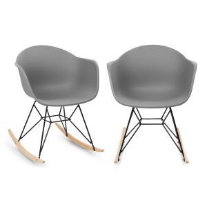 Skandi Schaukelstuhl | 2er-Set | Material Sitzschale: Polypropylen | Material Beine: Metall mit mattem Finish | Schaukelkufen aus Eichenholz | UV-beständig | max. Belastbarkeit: 150 kg | grau
