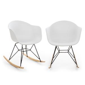 Skandi Schaukelstuhl | 2er-Set | Material Sitzschale: Polypropylen  | Material Beine: Eisen mit mattem Finish | Schaukelkufen aus Eichenholz | UV-beständig | max. Belastbarkeit: 150 kg | weiß