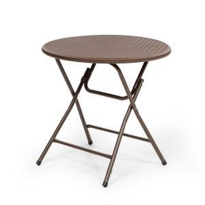 Burgos Round mesa plegable polirratán 80 cm Ø superficie 4 personas marrón