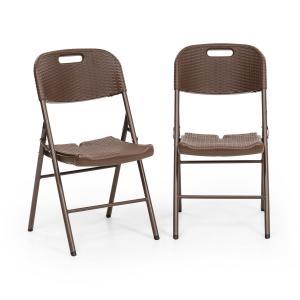Blumfeldt Burgos Seat Set 2 chaises de jardin pliantes acier aspect rotin marron