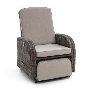 Blumfeldt Comfort Siesta Luxury Fauteuil de jardin repose-pied gris foncé