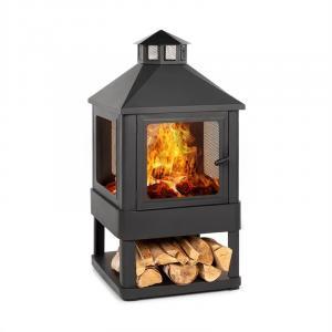 Blumfeldt Macondo Fire Pit Fire Bowl Fireplace 35x35cm Wood Compartment Steel Black