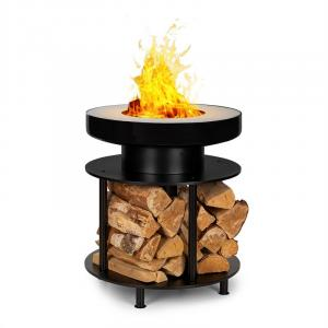 Blumfeldt Wood Stock 2-in-1 Fire Bowl BBQ Grill Ø56cm Stainless Steel Black