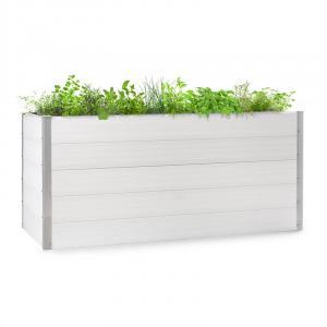 Blumfeldt Nova Grow Arriate de jardín 195 x 91 x 100 cm WPC imitación madera color blanco