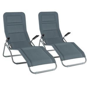 Blumfeldt Vitello Set 2 transats Chaise longue Bain soleil séchage rapide - gris