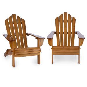 Vermont silla de jardín 2 piezas estilo Adirondack madera de pino marrón