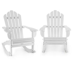 Rushmore Rocking Chair 2-piece Set Garden Chair Adironrack Style White