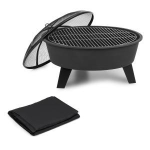 Blumfeldt Nolana Fire Bowl Ø73cm | Ø64cm Grill Weather Protection Cover Steel Black