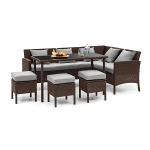 Blumfeldt Titania Dining Lounge Set Garden Set Brown / Light Grey