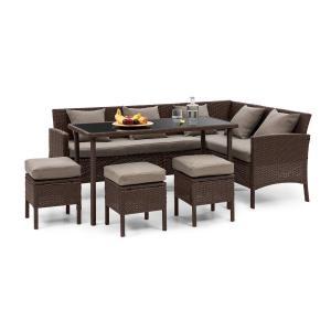 Blumfeldt Titania Dining Lounge Set Mobili da Giardino marrone/marrone