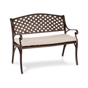 Pozzilli AN Gartenbank & Polster Set | Material: Aluminiumguss | witterungsbeständig | Platz für 2 Personen | ComfortExtra: inklusive wasserabweisendem Sitzkissen mit 4 cm hoher Schaumstoff-Füllung | antik-kupfer / beige