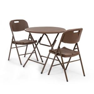 Blumfeldt Burgos Seating Table + 2 Chairs Steel Tube HDPE Rattan Look Folding