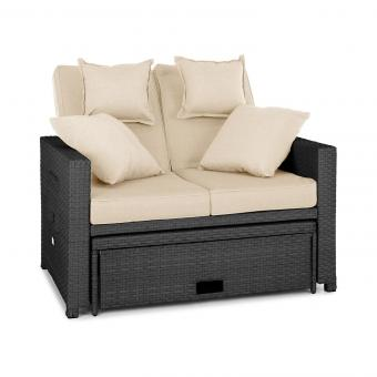 Beliebt Komfortzone Rattan-Lounge-Sofa Zweisitzer Polyrattan Klapptische RH22