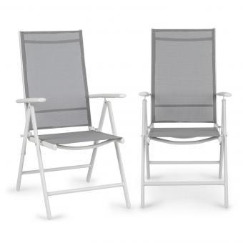 Almeria Set 2 chaises pliantes de jardin ComfortMesh blanc & gris