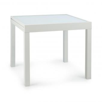 Pamplona Extension table de jardin 180 x 83 cm max. aluminium verre blanc