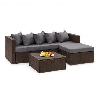 Theia Lounge Salon de jardin complet polyrotin marron & gris foncé