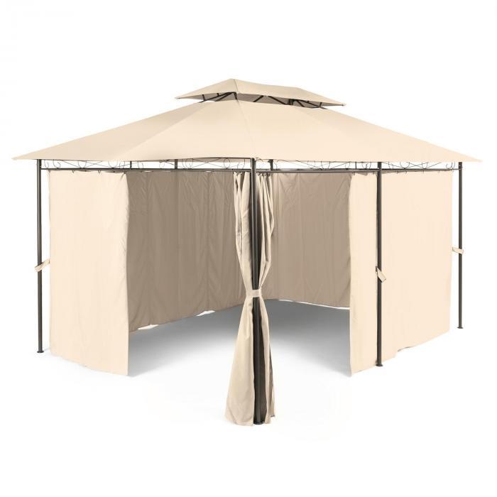 Grandezza Gartenpavillon Partyzelt 3x4m Stahl Polyester beige