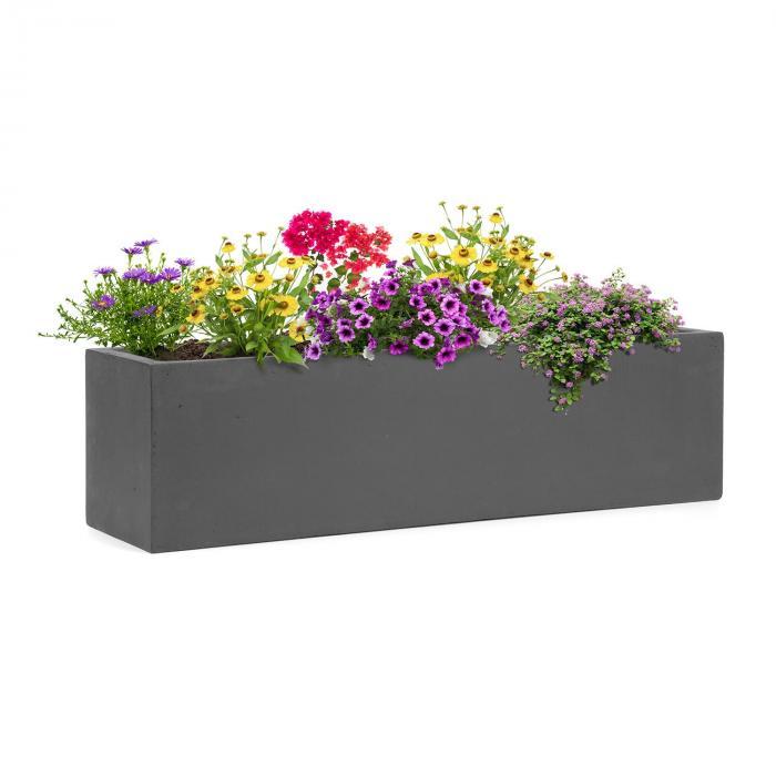 Solidflor Vaso 75 x 20 x 20 cm Vetroresina In-/Outdoor grigio scuro
