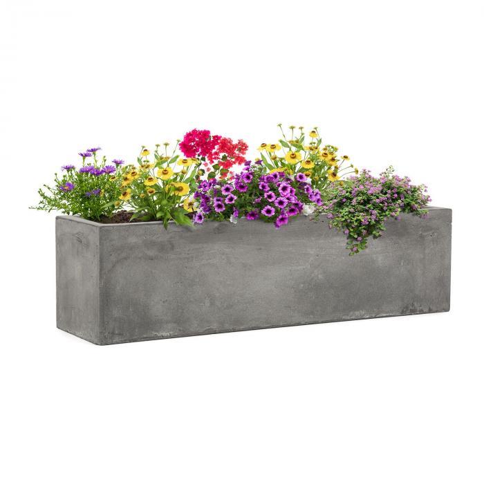 Solidflor Bac à plantes 75 x 20 x 20 cm Fibre de verre - gris clair