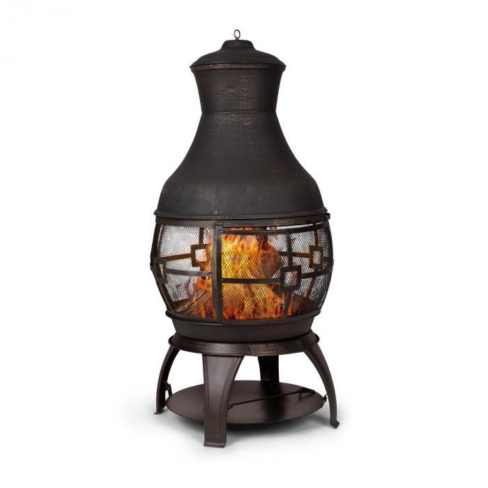 Titus Poêle de jardin style cheminée 360° FireView Fonte inoxydable -