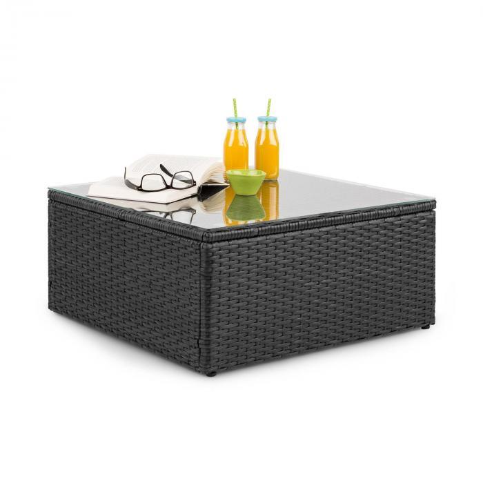 Theia Table de salon de jardin en polyrotin plateau en verre - noir