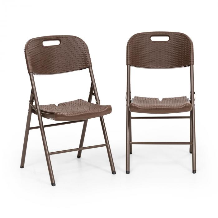 Burgos Seat set da 2 sedie pieghevoli HDPE acciaio aspetto rattan marrone