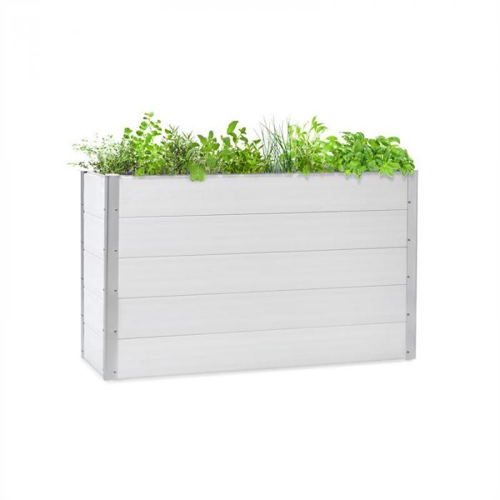 Nova Grow Arriate de jardín 150 x 91 x 50 cm WPC imitación madera color blanco