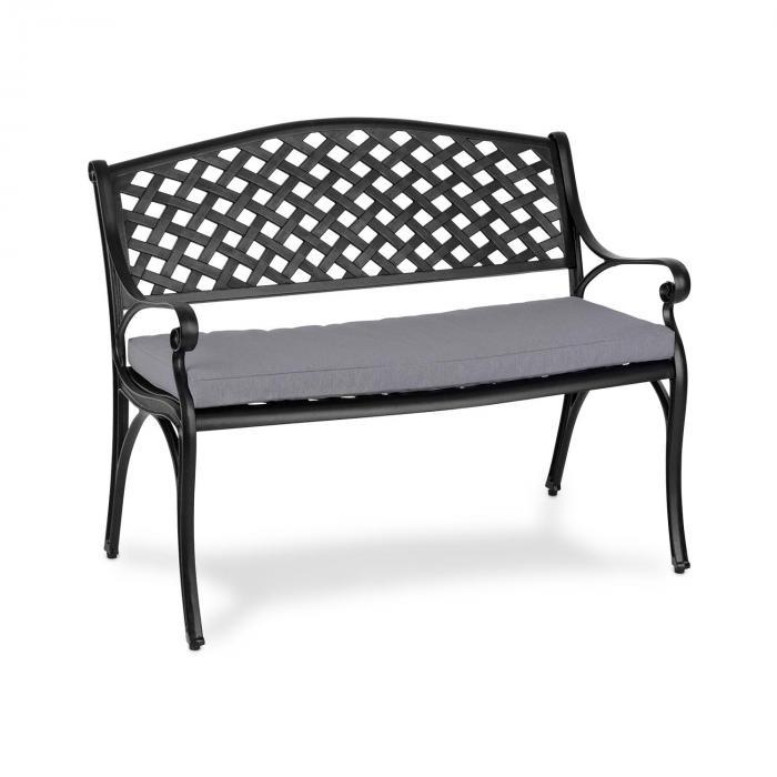 Pozzilli BL set panca da giardino & cuscino da seduta nero / grigio