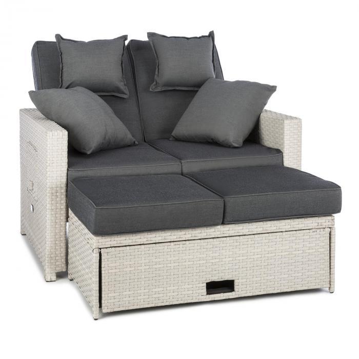 Komfortzone Rattan Lounge Sofa Zweisitzer Polyrattan Klapptische