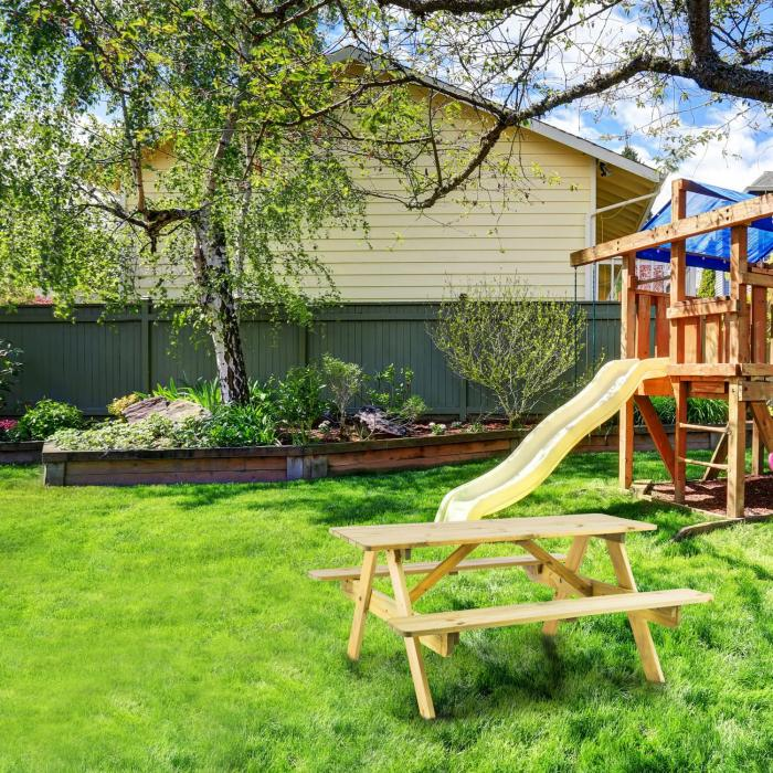 Blumfeldt table de pique nique avec banc meuble jardin pour enfants bois - Table jardin enfant bois ...