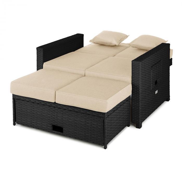 Komfortzone Rattan Lounge Sofa Two seater Polyrattan Foldable Tables Grey